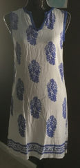 Blue & white emb dress